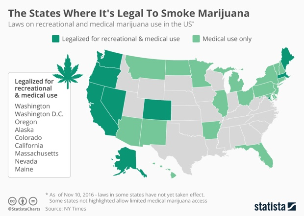 A state by state map of where marijuana is legal